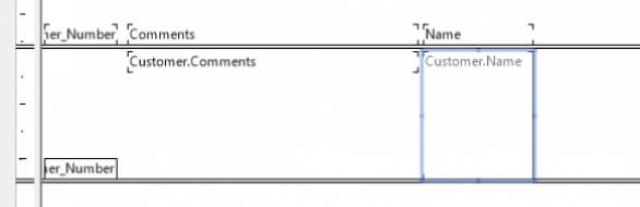 Resultado prático do alinhamento de objetos a uma seção do relatório