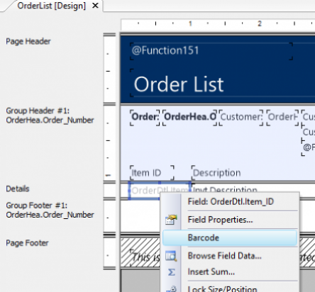 Suporte a código de barras no DataFlex Reports
