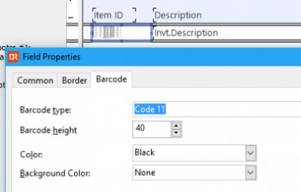 Propriedades de código de barras no DataFlex Reports